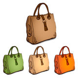Sketch imitating bags with markers Royalty Free Stock Images