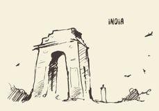 Sketch India Gate New Delhi Vector illustration. Royalty Free Stock Image