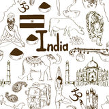 Sketch India seamless pattern stock illustration