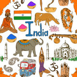 Sketch India seamless pattern Royalty Free Stock Image
