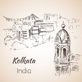 Sketch of indian city Kolkata. Royalty Free Stock Image