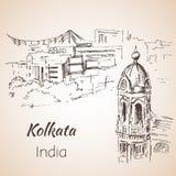 Sketch of indian city Kolkata. Isoated on whita background Royalty Free Stock Image