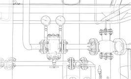 Sketch industrial equipment. Vector Stock Photography