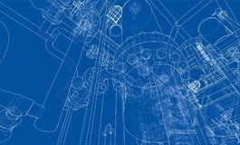 Sketch industrial equipment. Vector Royalty Free Stock Photos