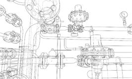 Sketch industrial equipment. Vector Royalty Free Stock Photography