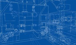 Sketch industrial equipment. Vector Royalty Free Stock Photo