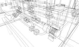 Sketch industrial equipment. Vector Stock Photos
