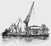 Sketch of industrial seaport. Vector drawing of the cranes in the seaport Royalty Free Stock Photos