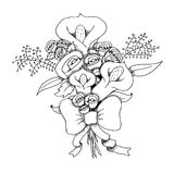 Sketch ink bouquet Royalty Free Stock Photos