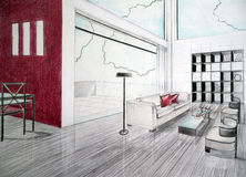 Sketch of interior Royalty Free Stock Photo