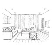 Sketch of interior. Beautiful room. Royalty Free Stock Image