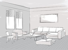 Sketch of interior. Beautiful room. Living room furniture. Blueprint with chairs, sofa, armchair, table and window vector illustration