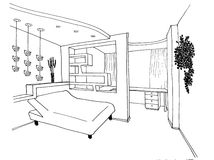 Sketch of an interior bedroom Royalty Free Stock Photos