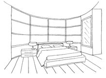 Sketch of an interior bedroom Stock Photos