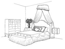 Sketch of an interior bedroom Royalty Free Stock Images