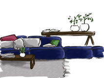 Sketch of the interior with a blue sofa Royalty Free Stock Photo