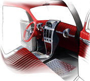 Sketch of interior design of a retro coupe car. Illustration. Royalty Free Stock Images