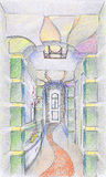 Sketch of interior of hallway Royalty Free Stock Photography