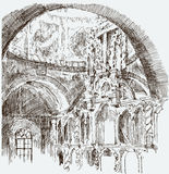 Sketch of the interior of the old church Stock Photos