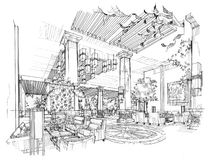 Sketch interior perspective lobby hall, black and white interior design. Stock Images