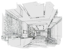 Sketch interior perspective reception, black and white interior design. Royalty Free Stock Image