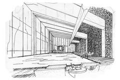 Sketch interior perspective swimming pools Stock Photography