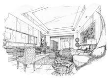 Sketch interior perspective swimming pools, black and white interior design. Stock Photo