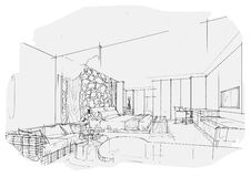 Sketch interior perspective swimming pools, black and white interior design. Royalty Free Stock Photography