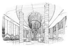 Sketch interior perspective swimming pools, black and white interior design. Stock Photography