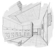Sketch interior perspective toilet, black and white interior design. Royalty Free Stock Photo