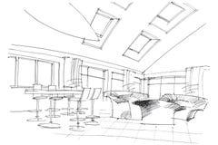 Sketch interior of a public building Royalty Free Stock Photos