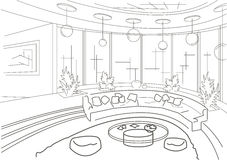 Sketch interior of a round living room with podium Royalty Free Stock Images