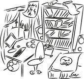 Sketch of interior. Teenager's bedroom Royalty Free Stock Photography