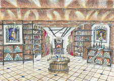 Sketch of interior of wine shop Stock Image