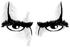 Sketch of isolated Eyes with resolute look Stock Image
