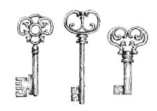 Sketch of isolated medieval keys or skeletons Royalty Free Stock Photo