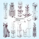 Sketch Isometric Buildings Royalty Free Stock Photo