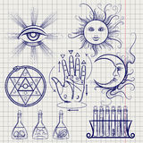 Sketch of isoteric and alchemy elements royalty free illustration