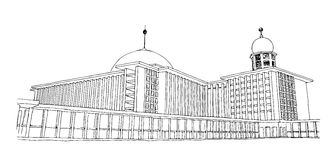 A sketch of Istiqlal Mosque in Jakarta, Indonesia. A hand drawn sketch vector graphic of Istiqlal Mosque in Jakarta, Indonesia Stock Photos