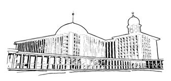 A sketch of Istiqlal Mosque in Jakarta, Indonesia. A hand drawn sketch vector graphic of Istiqlal Mosque in Jakarta, Indonesia Royalty Free Stock Photo