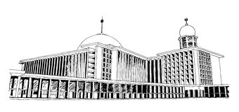 A sketch of Istiqlal Mosque in Jakarta, Indonesia. A hand drawn sketch vector graphic of Istiqlal Mosque in Jakarta, Indonesia Royalty Free Stock Photography