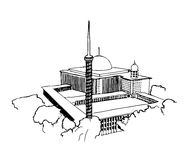 A sketch of Istiqlal Mosque in Jakarta, Indonesia Stock Photos