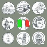 Sketch Italian icons Royalty Free Stock Images