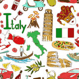 Sketch Italy seamless pattern vector illustration
