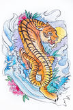 Sketch of the Japanese tiger on a white background. Stock Photo