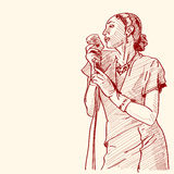 Sketch of a jazz singer Royalty Free Stock Photos