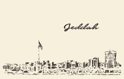 Sketch Jeddah skyline vector illustration drawn Royalty Free Stock Photo