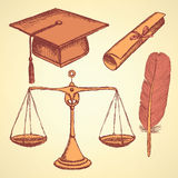 Sketch justice and education set Stock Photography