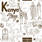 Sketch Kenya seamless pattern. Fun sketch Kenya seamless pattern Stock Image