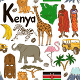 Sketch Kenya seamless pattern. Fun colorful sketch Kenya seamless pattern Stock Photos